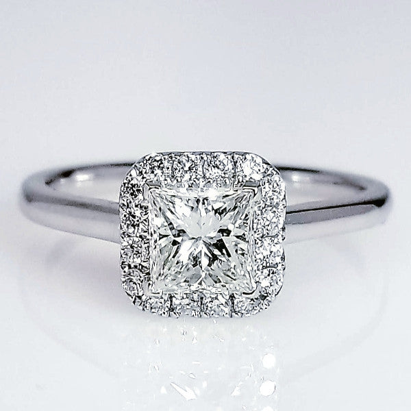 Princess Cut Halo Set Diamond Engagement Ring