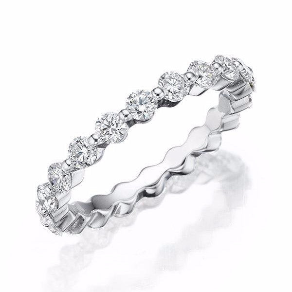 Single Shared Prong Diamond Eternity Band