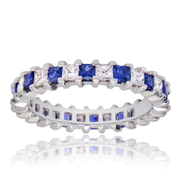 0.86CT Blue Sapphire Eternity Band - SEA Wave Diamonds