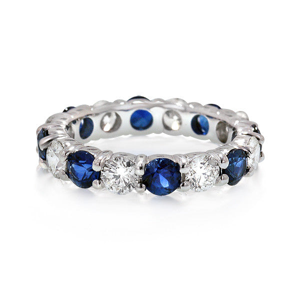 Ladies Diamond Sapphire Eternity Band in Platinum (1.53 ct. tw. diamonds, 1.91 ct. tw. s - SEA Wave Diamonds