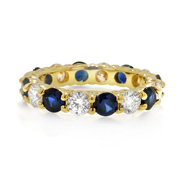 Diamond Sapphire Eternity Band In Yellow Gold in 18K Yellow Gold (1.53 ct. tw. diamonds, 1.93 ct - SEA Wave Diamonds