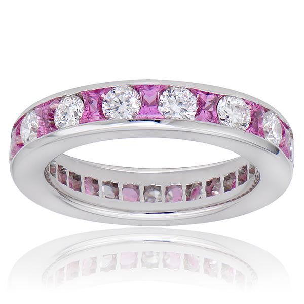 Pink Sapphire And Diamond Eternity Band In Platinum - SEA Wave Diamonds