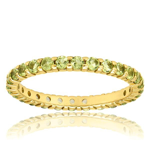 Peridot Eternity Band In 18k Yellow Gold - SEA Wave Diamonds