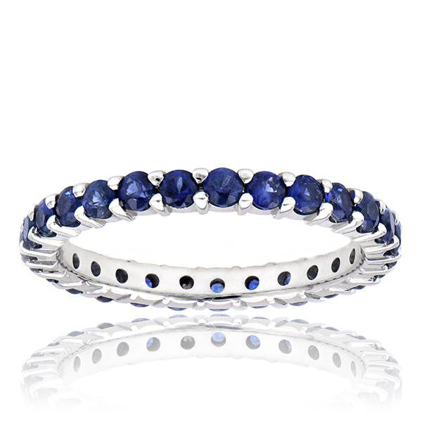 27 Stone Blue Sapphire Eternity Band In 18k White Gold - SEA Wave Diamonds