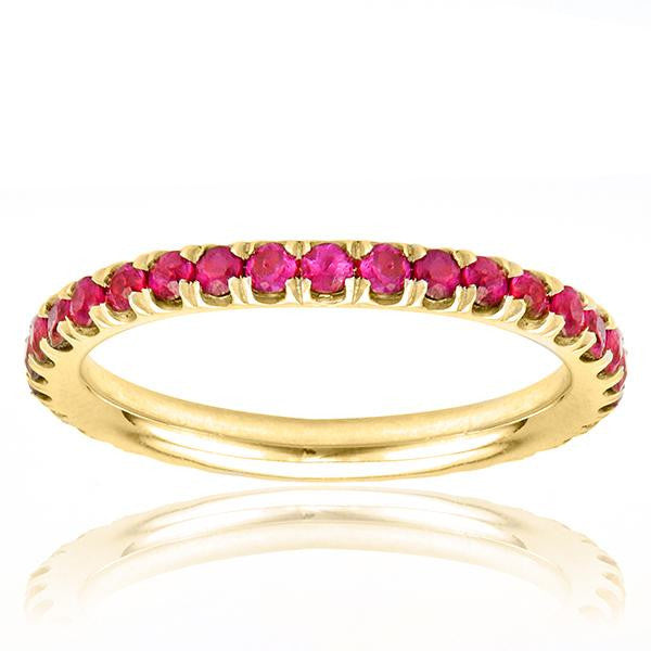 Pink Sapphire Eternity Band In 18k Yellow Gold - SEA Wave Diamonds