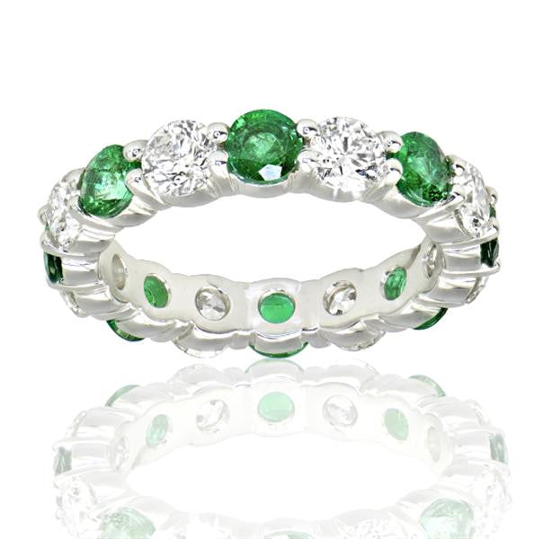 1.86 Carat Diamond Green Gemstone Eternity Band - SEA Wave Diamonds