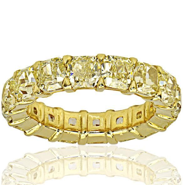 Fancy Yellow Radiant Cut Eternity Band - SEA Wave Diamonds