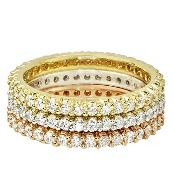 Yellow, Rose and White Gold Eternity Bands - SEA Wave Diamonds
