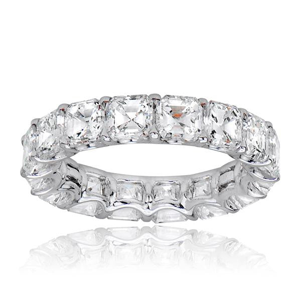 Assher Eternity Wedding BandIn Platinum - SEA Wave Diamonds