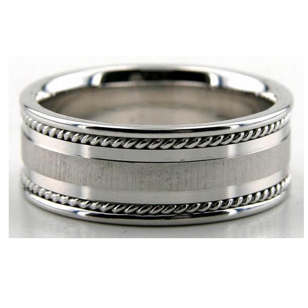 14K White Gold Wedding Band in 14K White Gold - SEA Wave Diamonds
