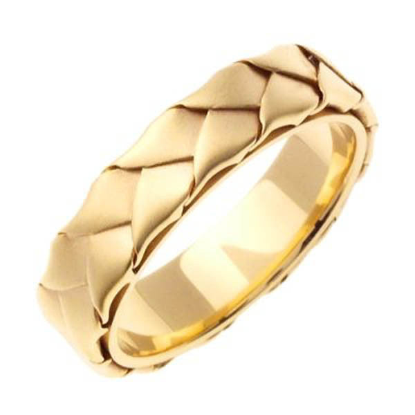 14K 5mm Handmade Wedding Ring in 14K Yellow Gold - SEA Wave Diamonds