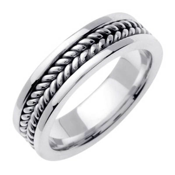 Solid 14K 6mm Handmade Wedding Ring in 14K White Gold - SEA Wave Diamonds