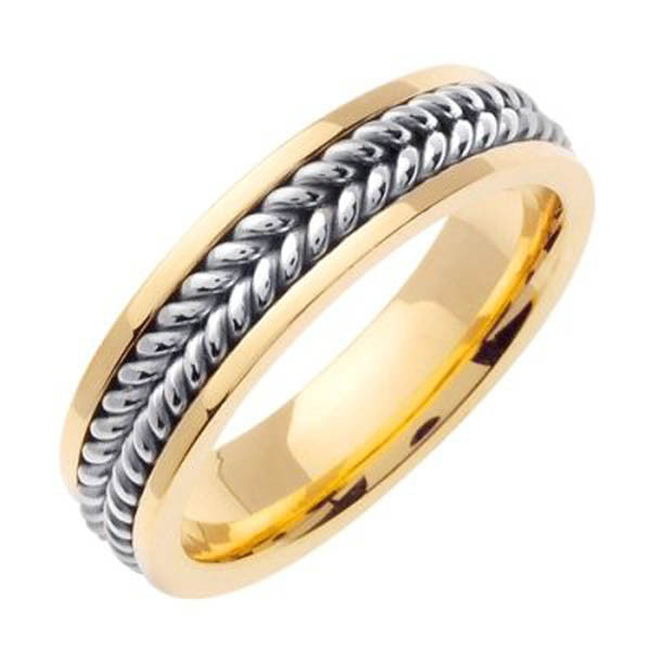 Two Tone Wedding Band in 14K White and Yellow Gold