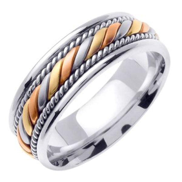 Tri-Color Wedding Bandin 14K White, Yellow and Rose Gold - SEA Wave Diamonds