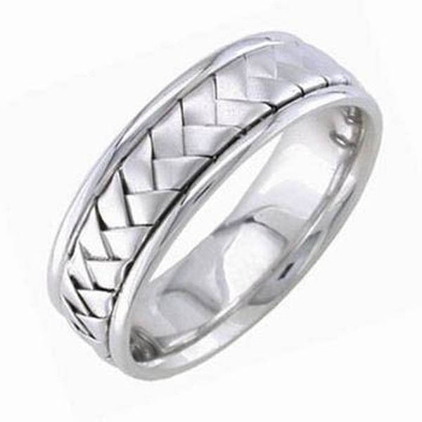 Unisex Wedding Band in 14K White Gold - SEA Wave Diamonds