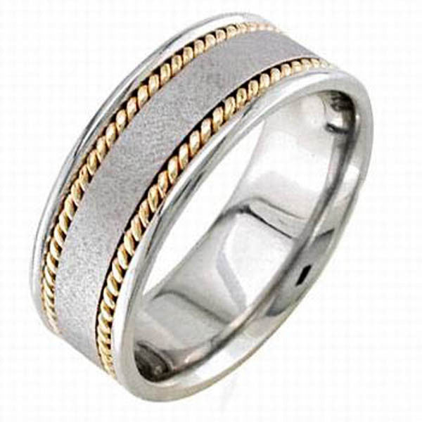 Two Tone Wedding Band in 14K White and Yellow Gold - SEA Wave Diamonds