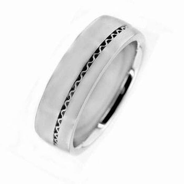 Classic Wedding Band in 14K White Gold - SEA Wave Diamonds