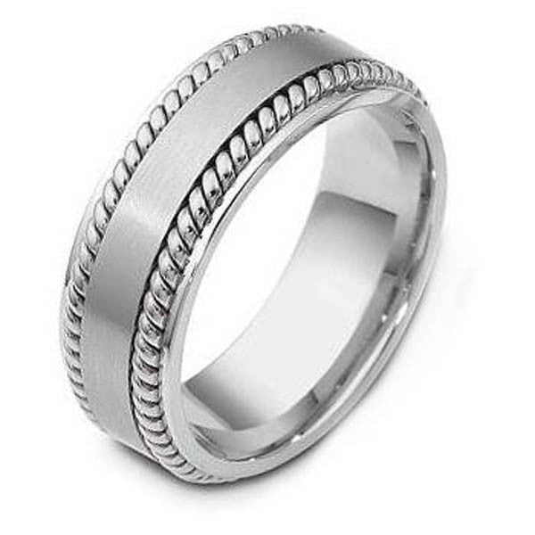 14K White Gold Wedding Bandin 14K White Gold - SEA Wave Diamonds