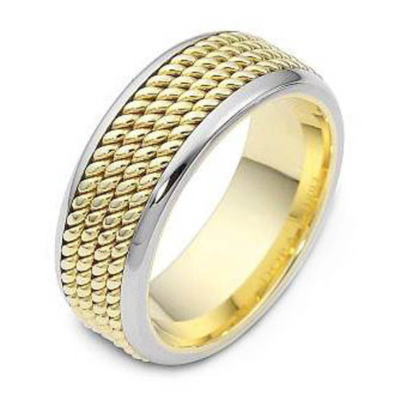 Two Tone Wedding Bandin 14K White and Yellow Gold - SEA Wave Diamonds
