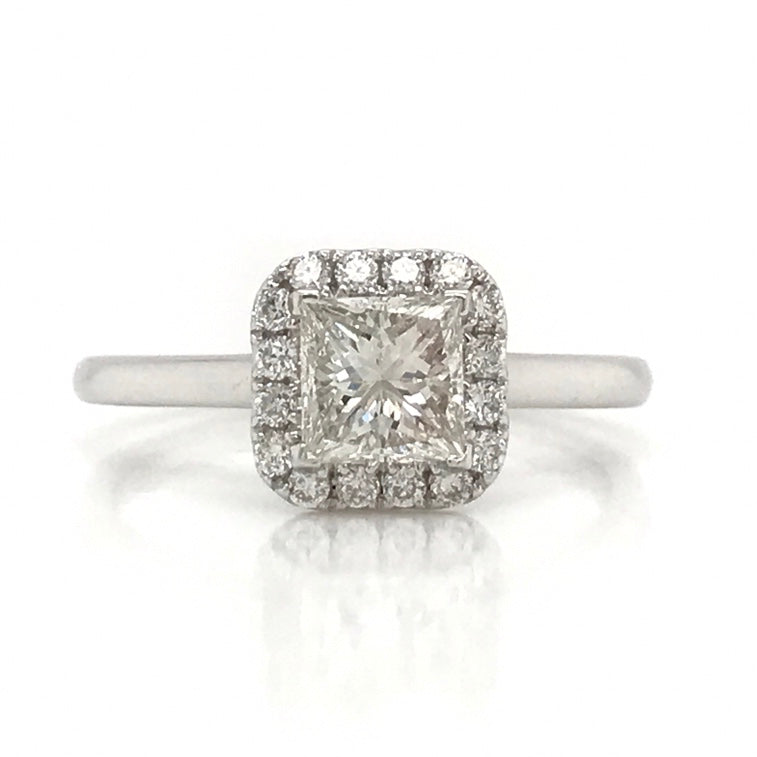 Princess Cut Halo Set Diamond Engagement Ring - SEA Wave Diamonds