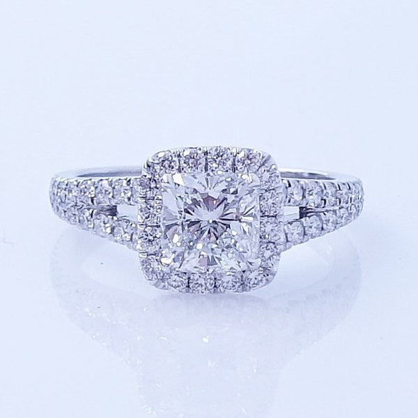 Cushion Cut Split Shank Diamond Engagement Ring - SEA Wave Diamonds
