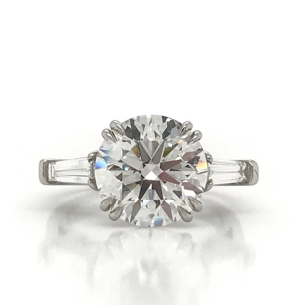 5.01 Carat GIA Round Brilliant Diamond Three Stone Engagement Ring
