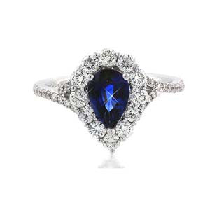 Diamond And Sapphire Ringin 18k White Gold