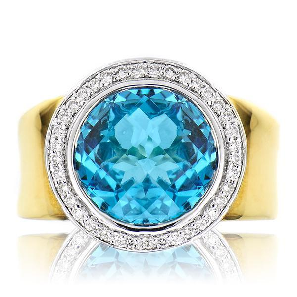 Cocktail Ring With Blue Topaz In Yellow Gold - SEA Wave Diamonds