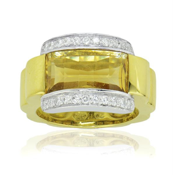Two Toned Yellow Citrine Ladies Fashion Ring - SEA Wave Diamonds