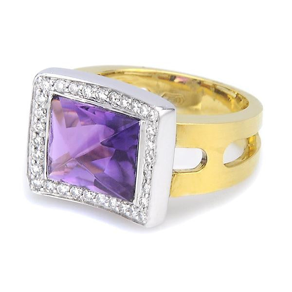 Ladies Ring With Amethyst - SEA Wave Diamonds