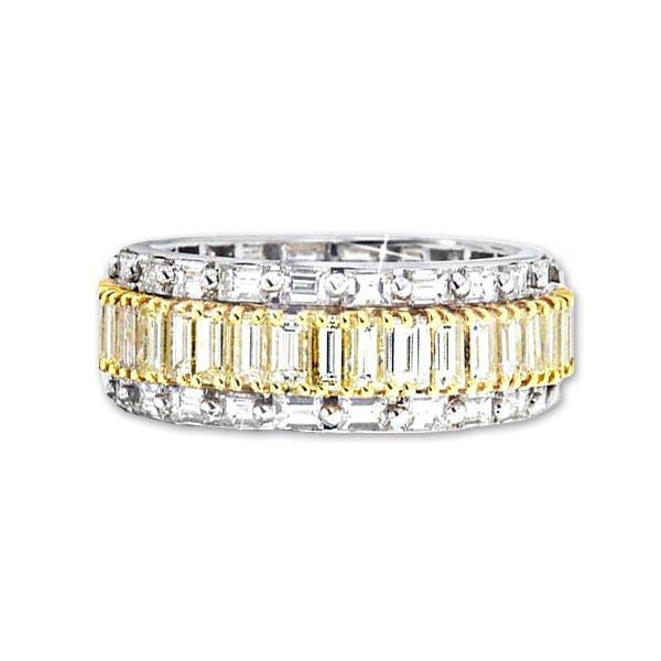 Ladies Yellow And White Diamond Eternity Ring in 18K White Gold (6.02 ct. tw.) - SEA Wave Diamonds