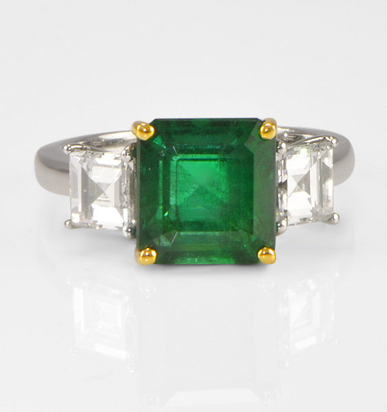 Three Stone Green Emerald Engagement Ring in Platinum (1.77 ct. tw.)