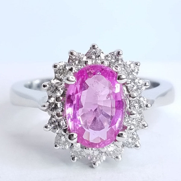 Pink Sapphire And Diamond Ring - SEA Wave Diamonds