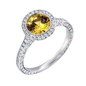 Ladies Diamond And Yellow Sapphire Ring in Platinum