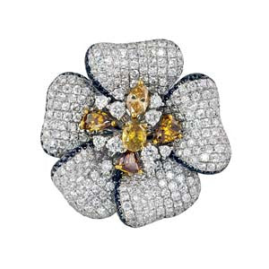 Pave Flower Diamond Ring7.05cts