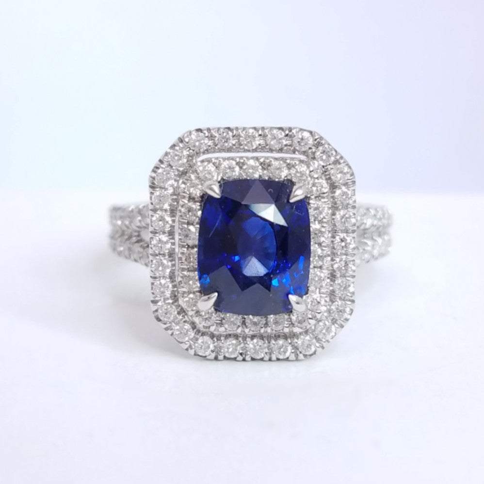 Sapphire Double Halo Diamond Split Shoulder Ring - SEA Wave Diamonds