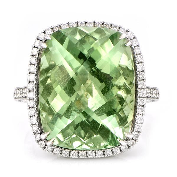 Tourmaline Diamond Fashion Ring In 18k White Gold - SEA Wave Diamonds