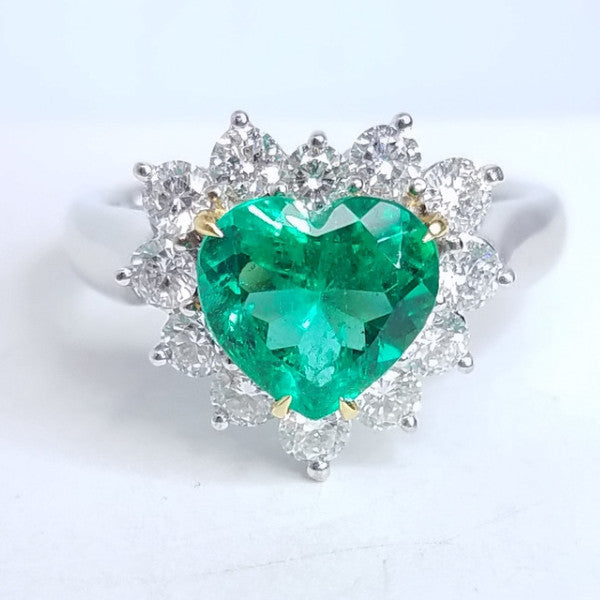Green Emerald Heart Diamond Ring - SEA Wave Diamonds