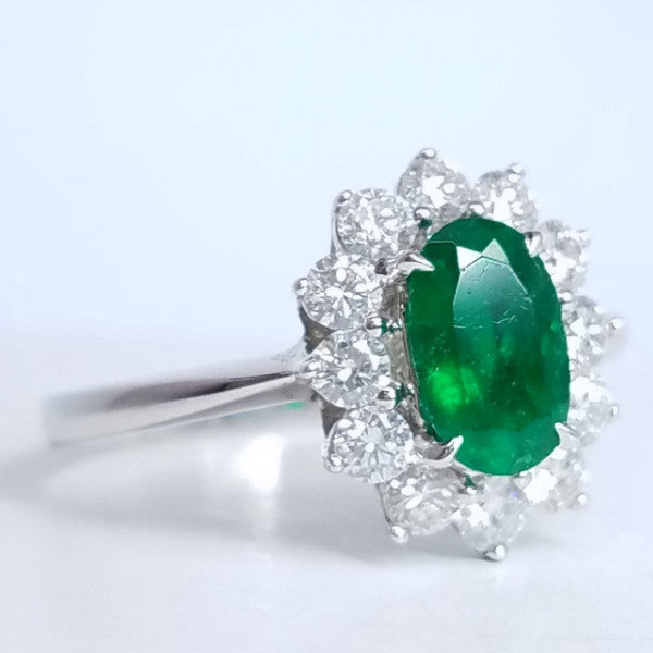 Oval Green Emerald Diamond Ring - SEA Wave Diamonds