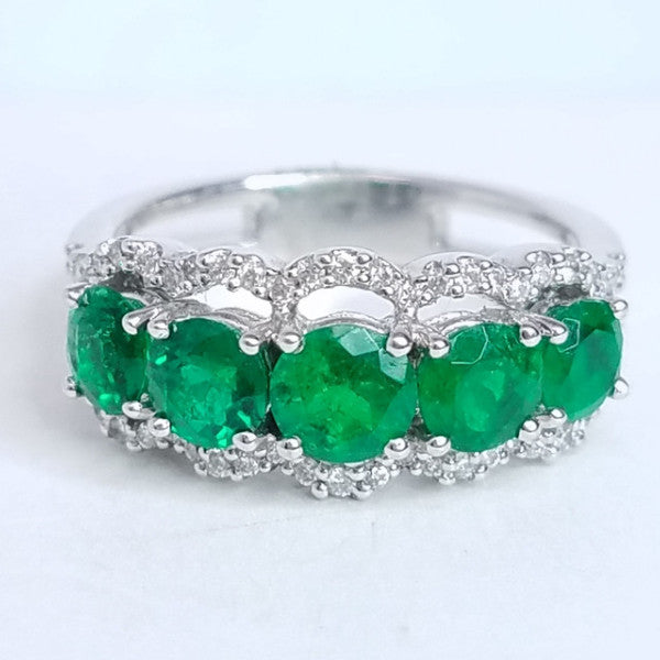 Right Hand Anniversary Ring Emeralds & Diamonds - SEA Wave Diamonds
