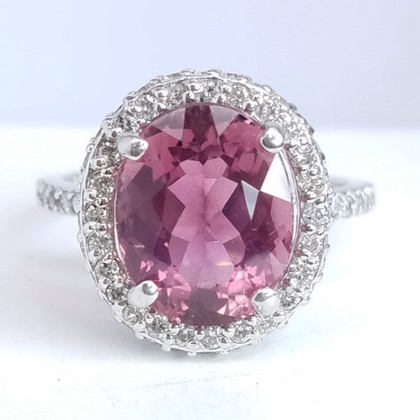 Pink Tourmaline Oval Diamond Halo Ring - SEA Wave Diamonds