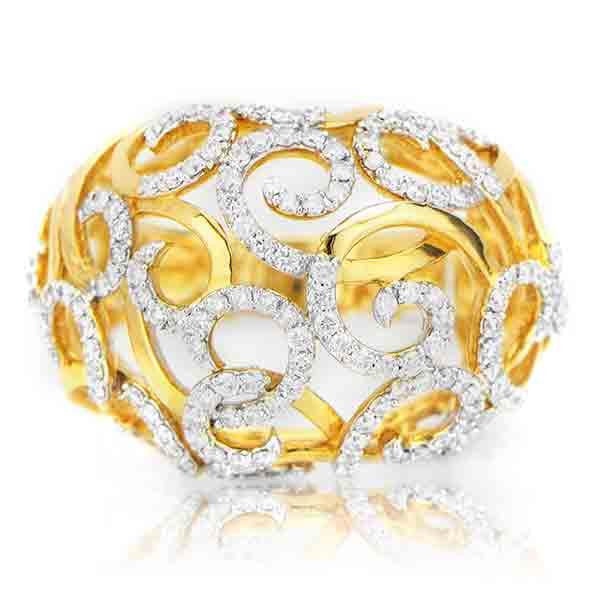 Diamond Fashion Ring With Diamond Wires in 18K Yellow Gold (1.15 ct. tw.) - SEA Wave Diamonds