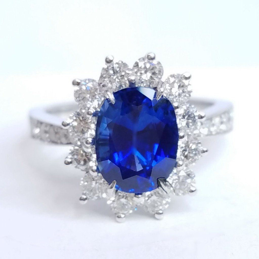Blue Sapphire Cushion Cut Gemstone Ladies Diamond Ring - SEA Wave Diamonds