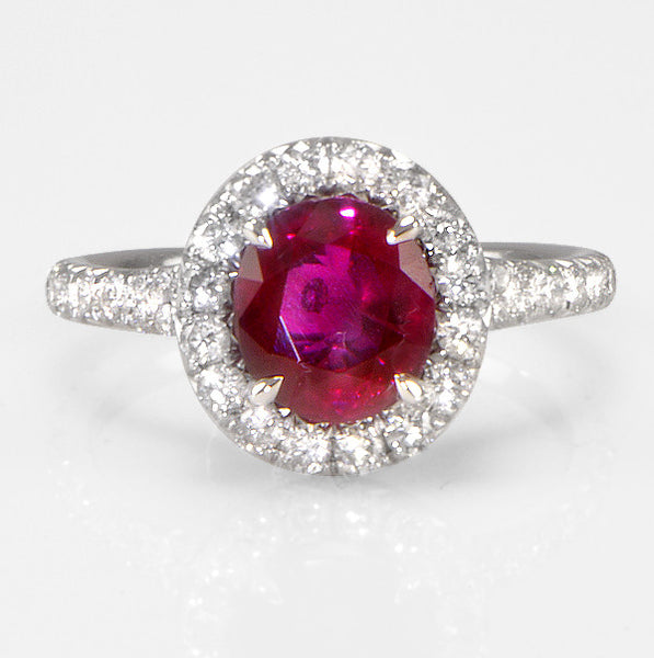 One Of A Kind Ruby Diamond Engagement Ring Halo Split Platinum Band