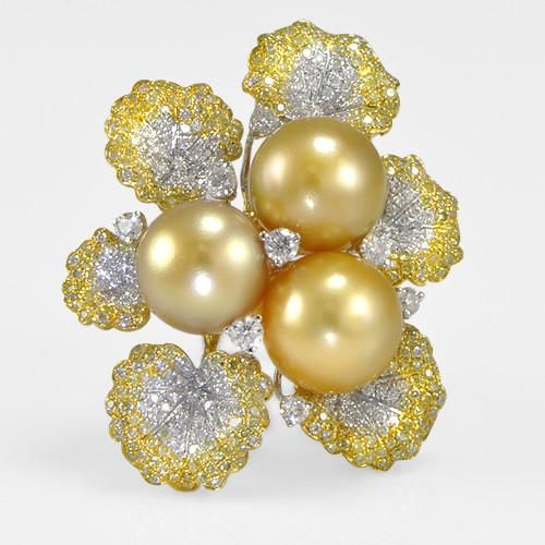 Yellow And White Diamond Pearl Flower Ringin 18K Yellow Gold (2.37 ct. tw.)