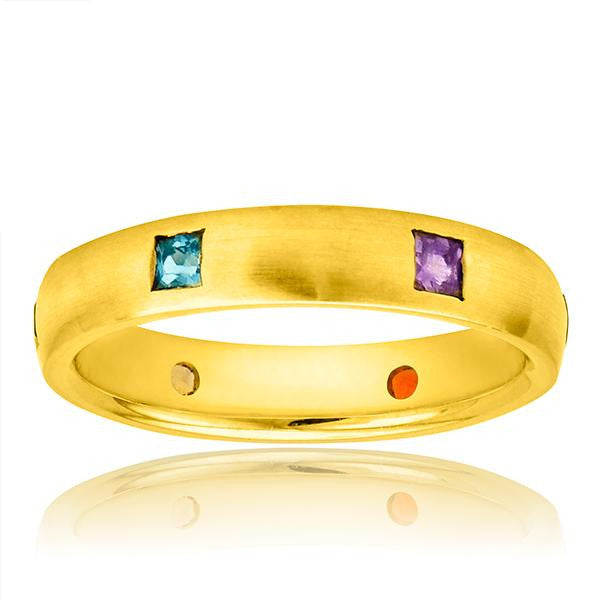 Multicolor Gemstone Band In 18K Yellow Gold - SEA Wave Diamonds