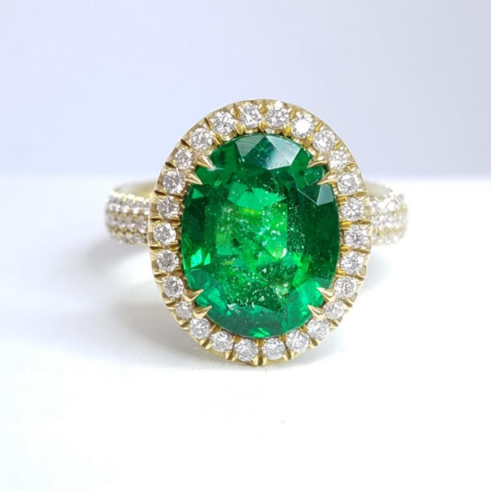 Green Emerald Diamond Halo Ring - SEA Wave Diamonds