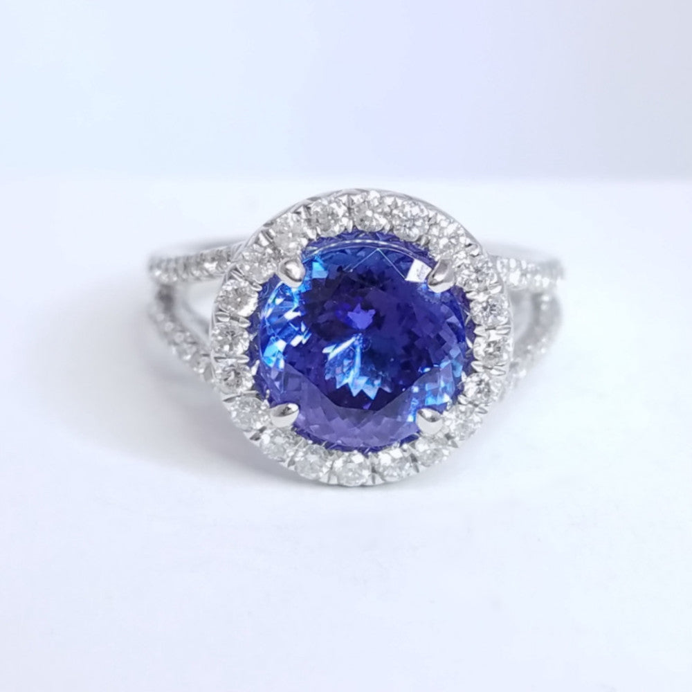 Tanzanite Halo Diamond Ring - SEA Wave Diamonds