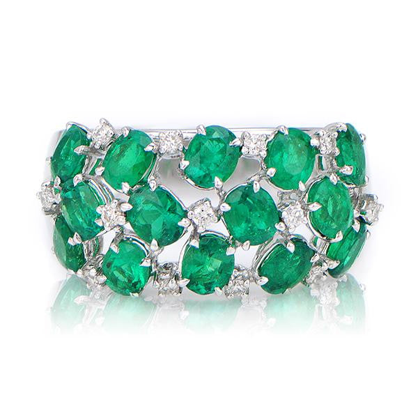 Emerald Diamond Ring Right Hand - SEA Wave Diamonds