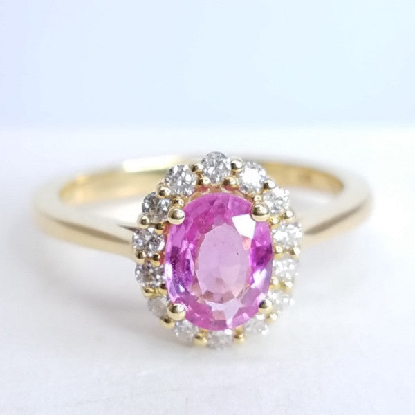 Pink Sapphire & Diamond Yellow Gold Ring - SEA Wave Diamonds